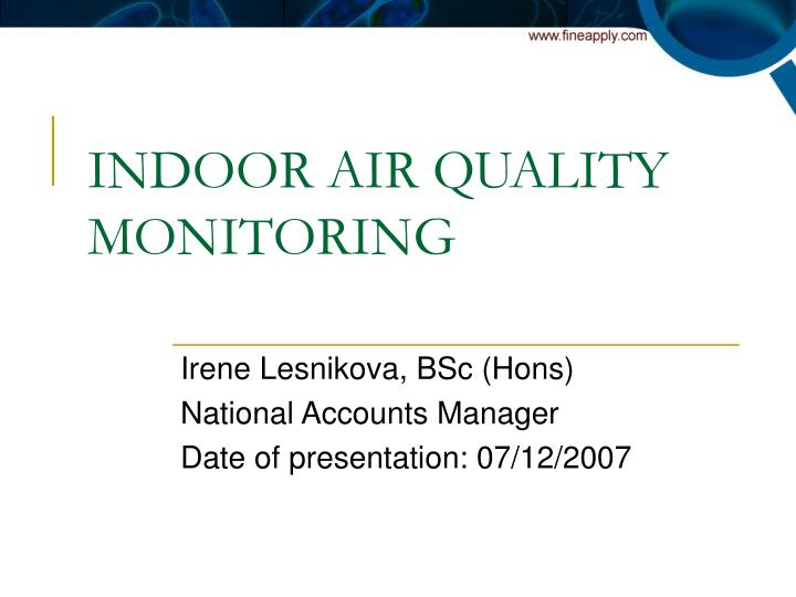 indoor air quality monitoring n.