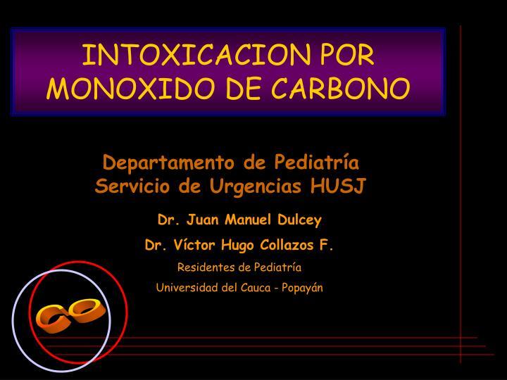 intoxicacion por monoxido de carbono n.