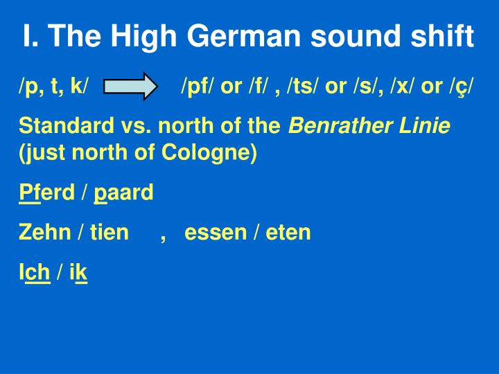 The High German sound shift
