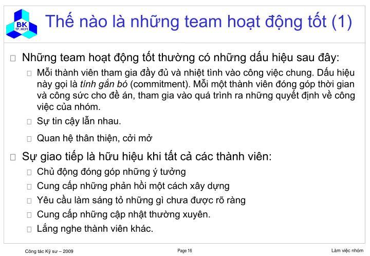 Thế nào là những team hoạt động tốt (1)