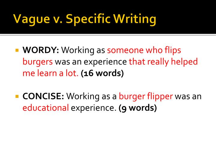 Vague v specific writing