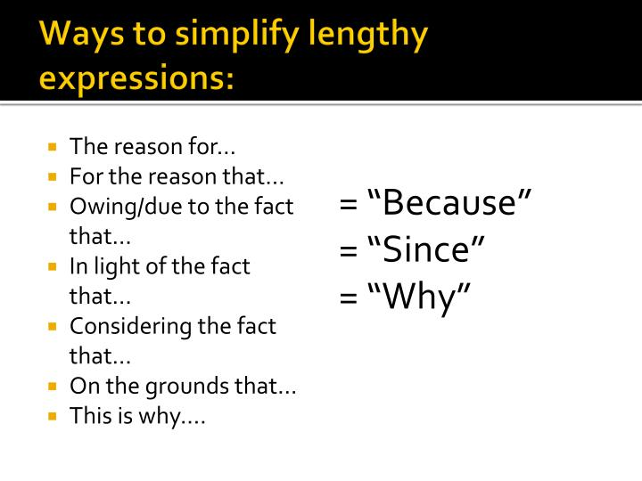 Ways to simplify lengthy expressions:
