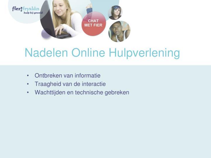Nadelen Online Hulpverlening