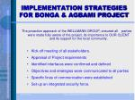 implementation strategies for bonga agbami project
