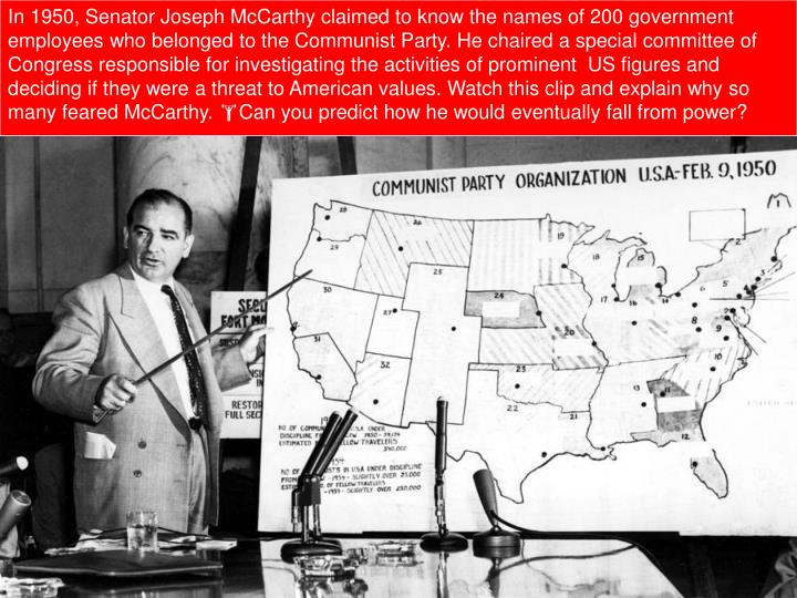 a history of joe mccarthy and mccarthyism