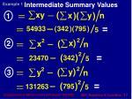 intermediate summary values