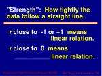 strength how tightly the data follow a straight line