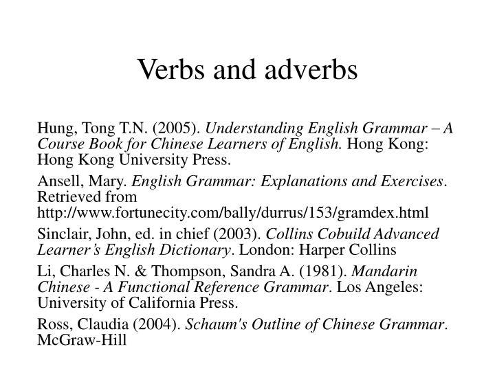 v erbs and adverbs n.