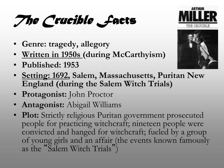 crucible and mccarthyism thesis - the religious aspects of arthur miller's the crucible the crucible is a play, which draws a parallel between the salem witch-hunts of 1692 and mccarthyism in the 1950s arthur miller, author of the play, was put in prison in the early 1950s owing to his slight left wing sympathies.
