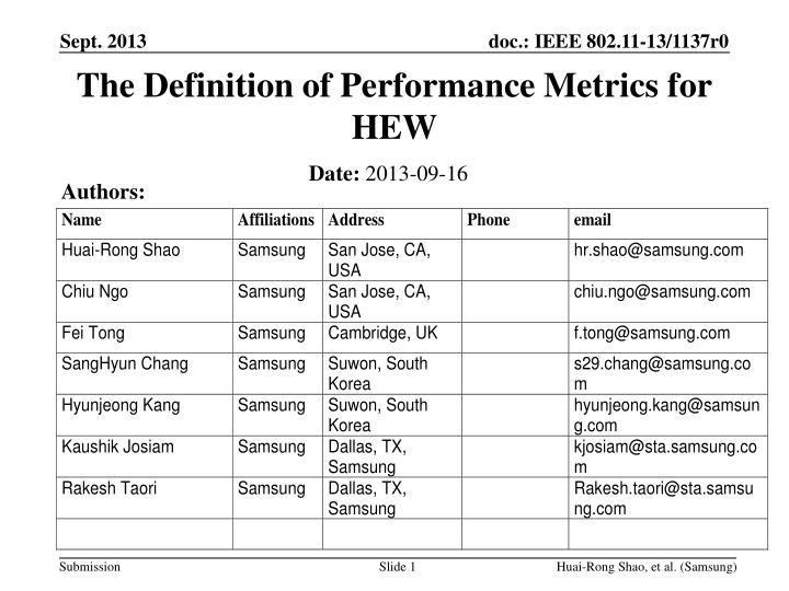 the definition of performance metrics for hew n.