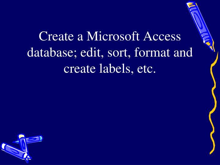 Create a Microsoft Access database