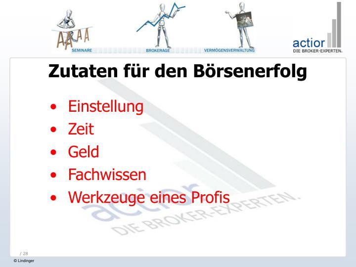 Zutaten für den Börsenerfolg