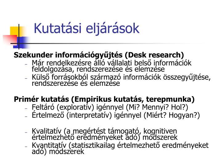 Kutatási eljárások
