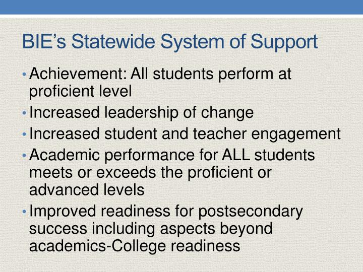 BIE's Statewide System of Support