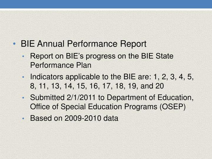 BIE Annual Performance Report