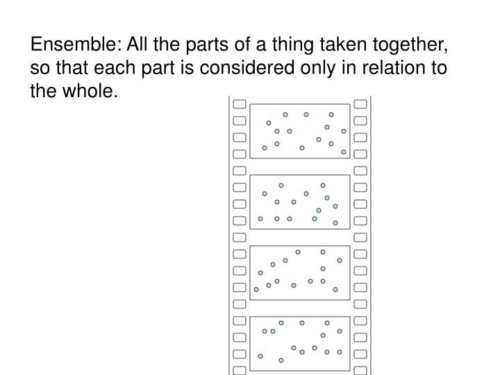 Ensemble: All the parts of a thing taken together, so that each part is considered only in relation to the whole.