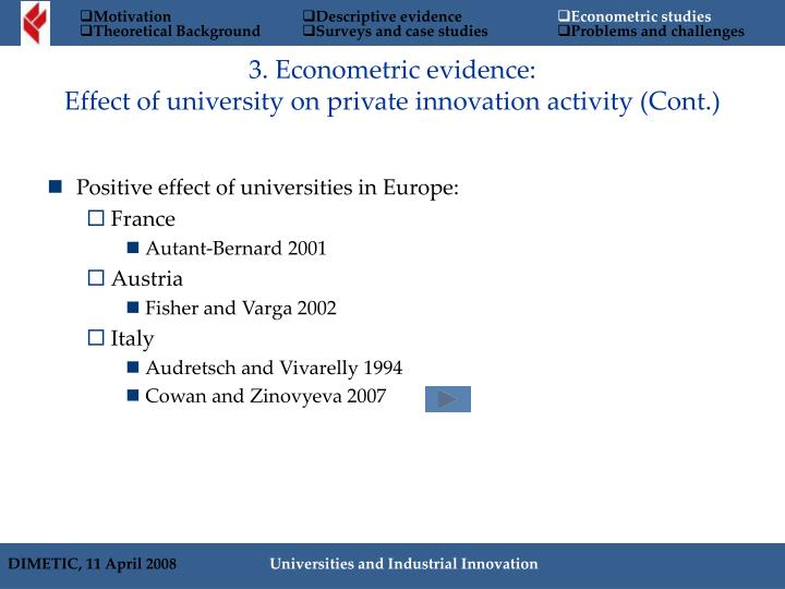 3. Econometric evidence: