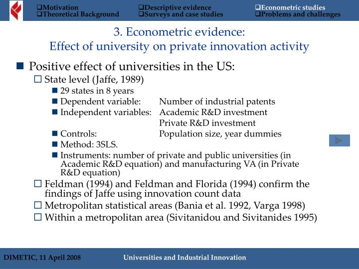 Positive effect of universities in the US: