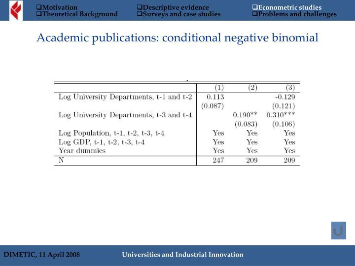 Academic publications: conditional negative binomial