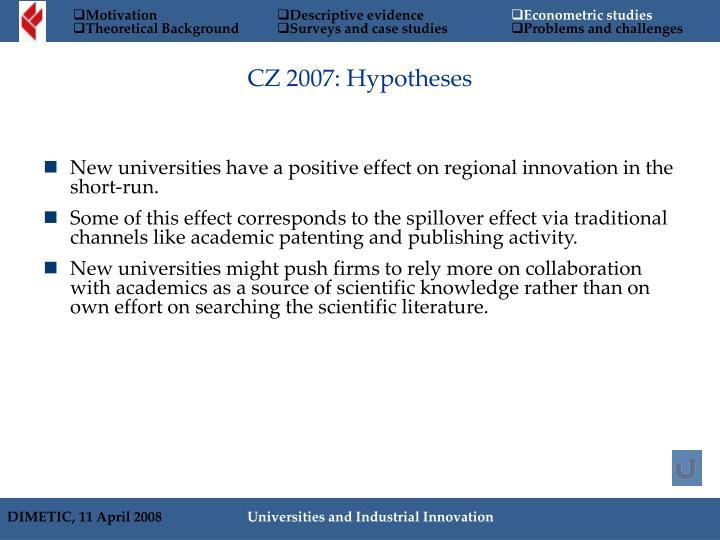 CZ 2007: Hypotheses