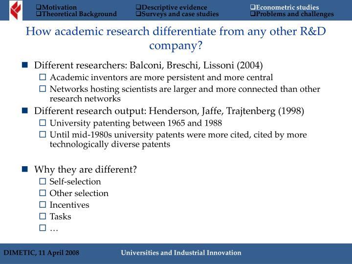 Different researchers: Balconi, Breschi, Lissoni (2004)