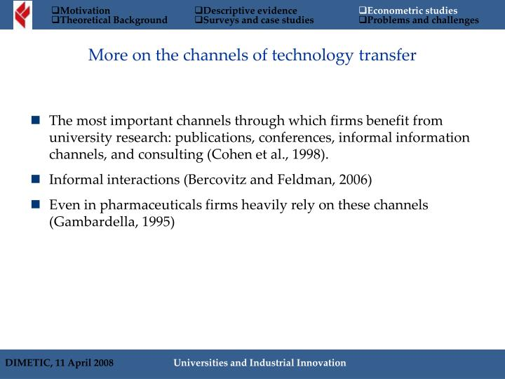 More on the channels of technology transfer
