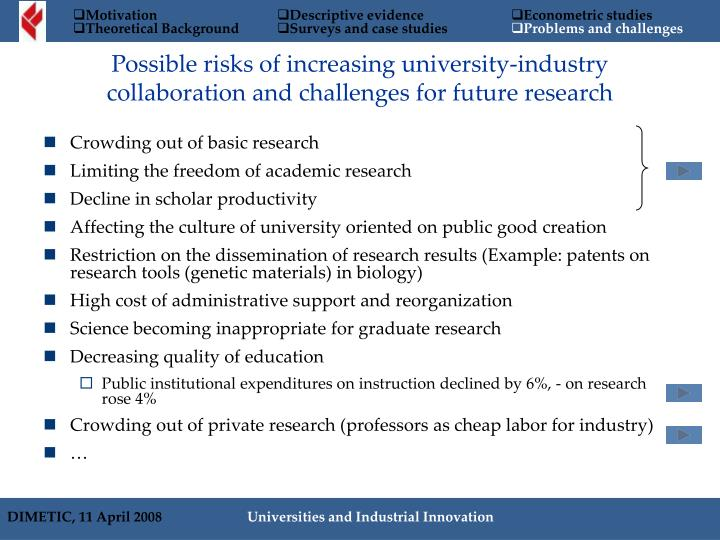 Possible risks of increasing university-industry collaboration and challenges for future research