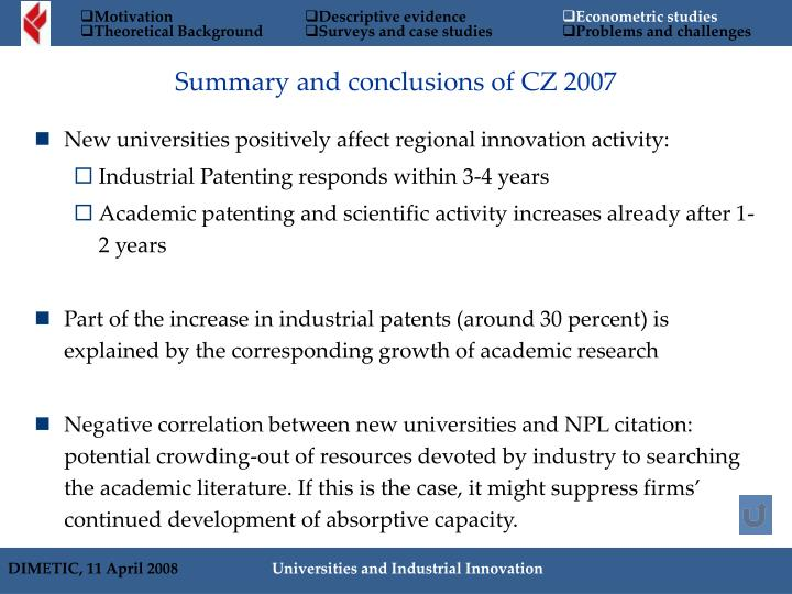 Summary and conclusions of CZ 2007