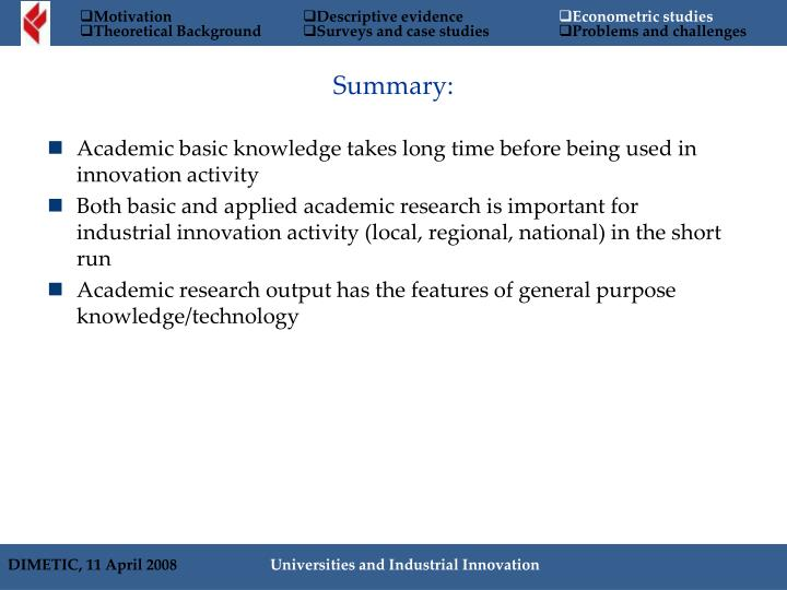 Academic basic knowledge takes long time before being used in innovation activity