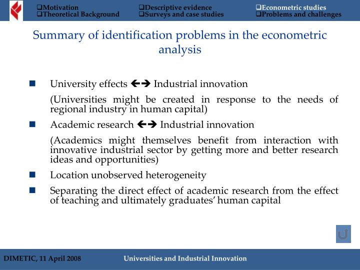 Summary of identification problems in the econometric analysis