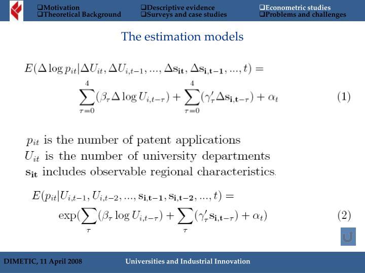 The estimation models