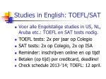 studies in english toefl sat