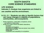 south dakota core science standards