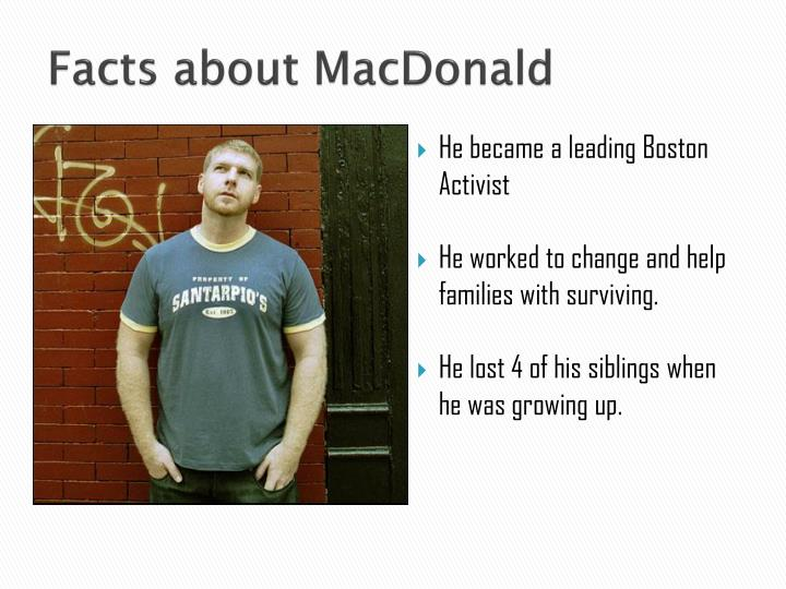 Facts about macdonald