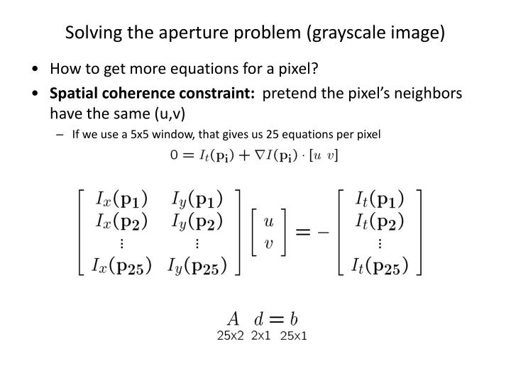 Solving the aperture problem (grayscale image)