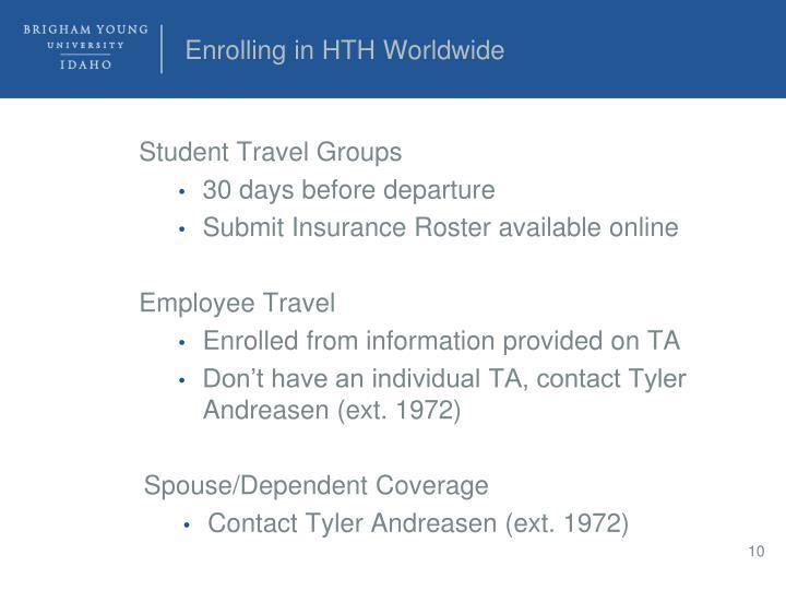 Enrolling in HTH Worldwide