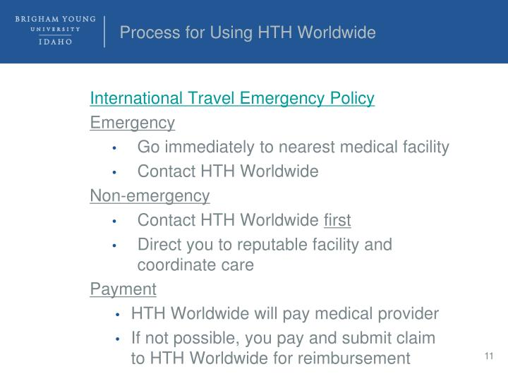 Process for Using HTH Worldwide