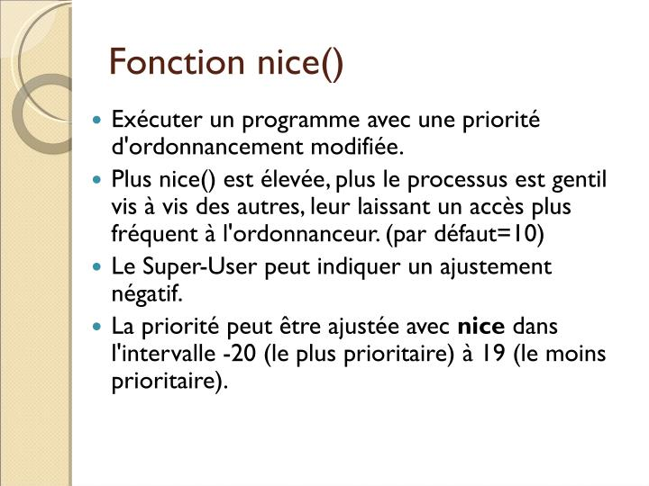 Fonction nice()