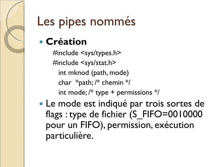Les pipes nommés