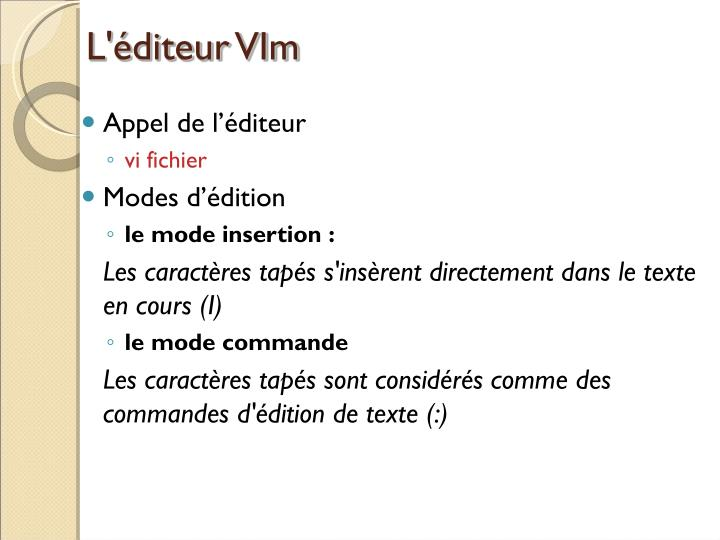 L'éditeur VIm