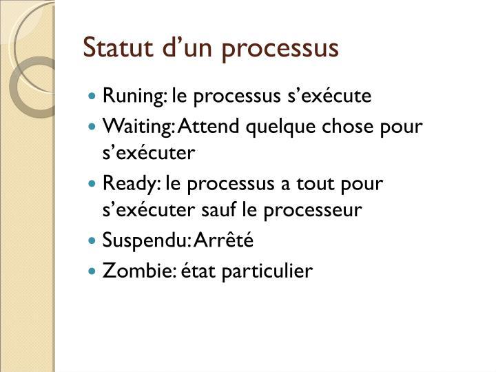 Statut d'un processus