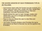 the access granted by each permission type is as follows