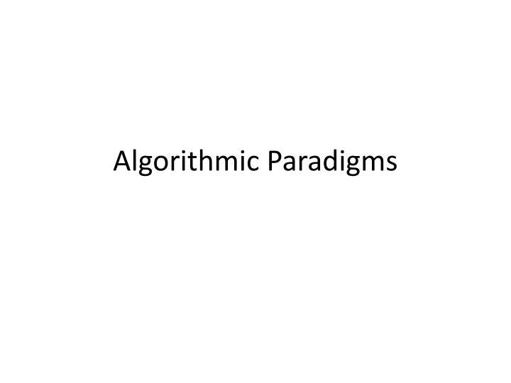 algorithmic paradigms n.