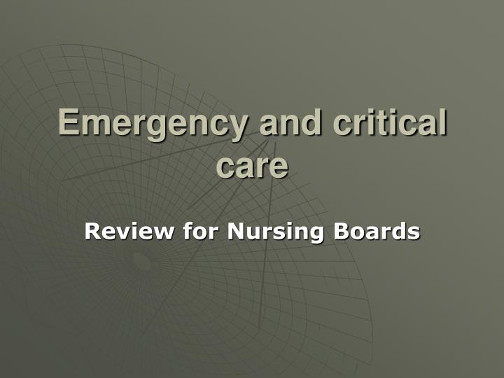 emergency and critical care n.