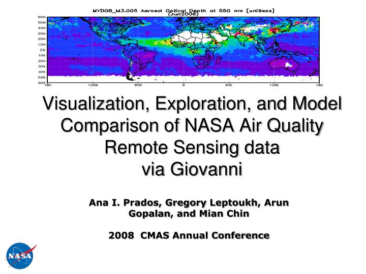 visualization exploration and model comparison of nasa air quality remote sensing data via giovanni n.