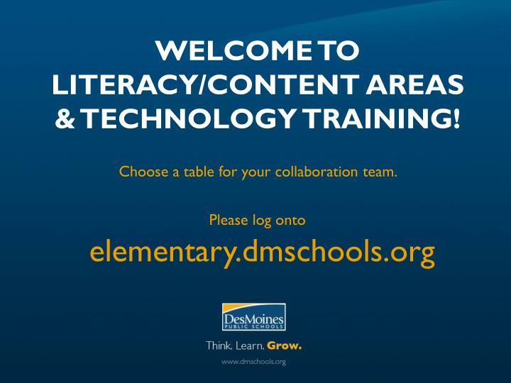 welcome to literacy content areas technology training n.