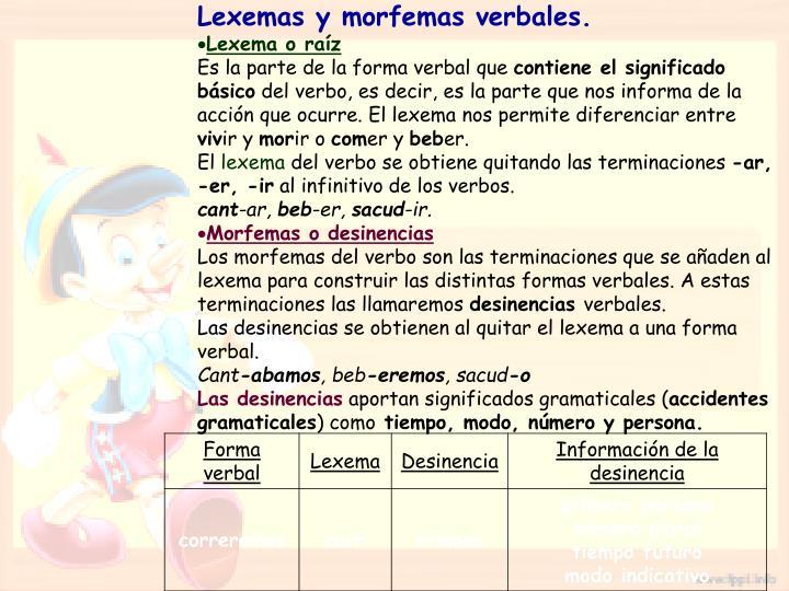 Lexemas y morfemas verbales.