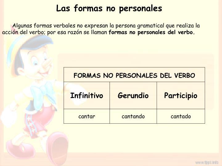 Las formas no personales