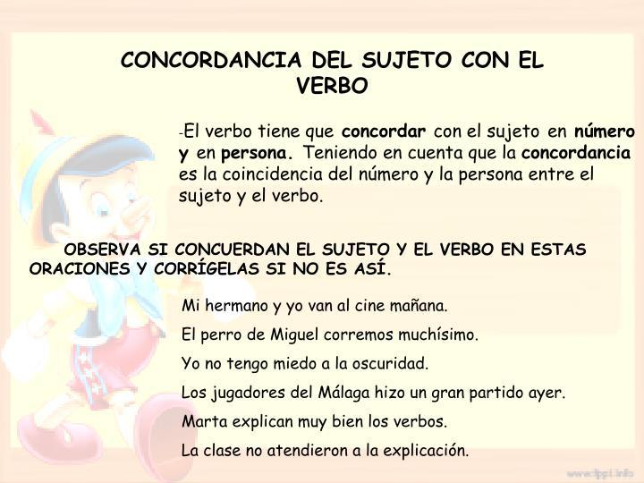 CONCORDANCIA DEL SUJETO CON EL VERBO