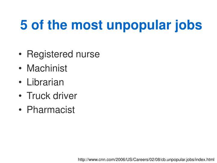 5 of the most unpopular jobs